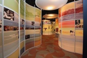 The colorful Area 7, which serves as the last stop on a walkthrough of the Maltz Museum's main collection, provides a comprehensive look at the many roles played in Northeast Ohio by members of the Jewish community. Photo / Michael C. Butz