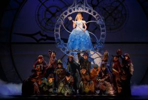 "Ginna Claire Mason as Glinda, with the ""Wicked"" ensemble. Photo / Joan Marcus"