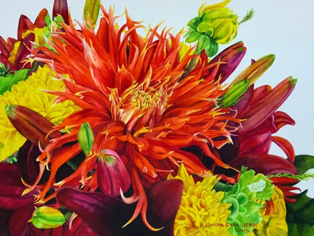 """Orange Dahlia"" by Susan Lydon is an example of the work that can be found at Local Artistree. Photo by Local Artistree"