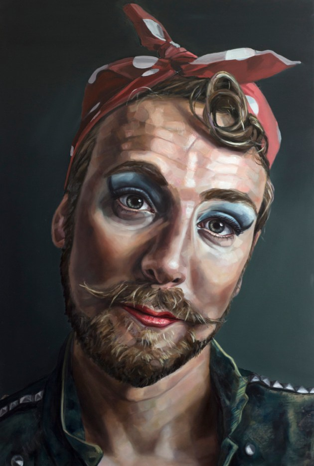 """""""Jason as Rosie,"""" oil on panel, 44 x 30 inches. Artwork courtesy of the artist."""