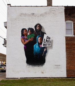 """Our Lives Matter!,"" a mural by Gary R. Williams and Robin M. Robinson of Sankofa Fine Art Plus, a nonprofit community arts organization in Cleveland's Glenville neighborhood, can be found at the intersection of East 105th Street and Yale Avenue."