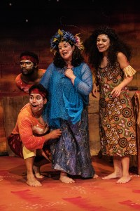 """From left, Wesley Allen, Davis Aguila, Marina Gordon and Emily Jane Zart performing in Talespinner Children's Theatre's """"The Rainbow Serpent (A Tale of Aboriginal Australia)."""" Photo Steve Wagner / Talespinner Children's Theatre"""