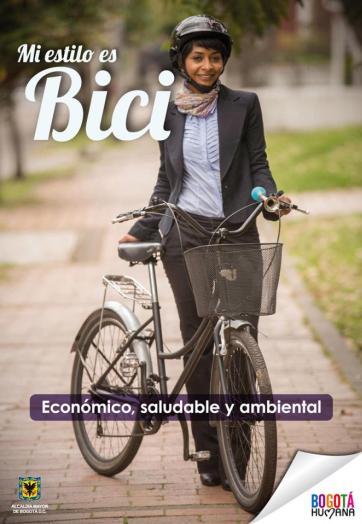 Afiche publicitario para fomentar el uso de la bicicleta en Bogotá.