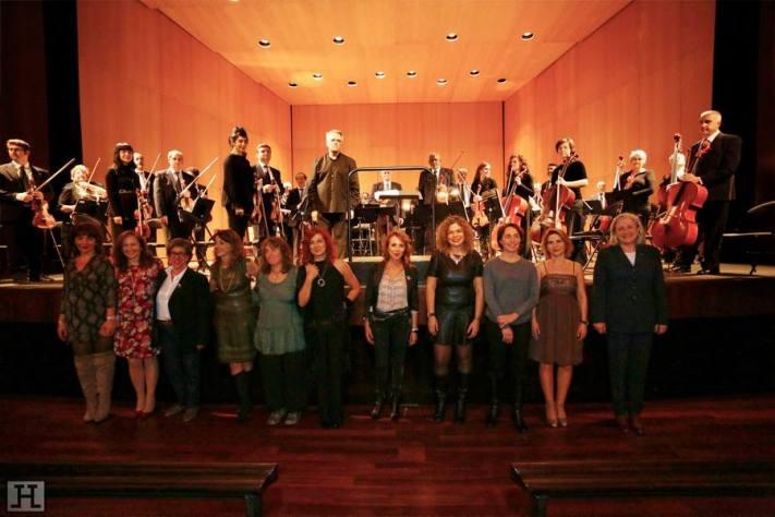 Las integrantes del taller de compositoras, durante su concierto en Teatro Muñoz Seca.