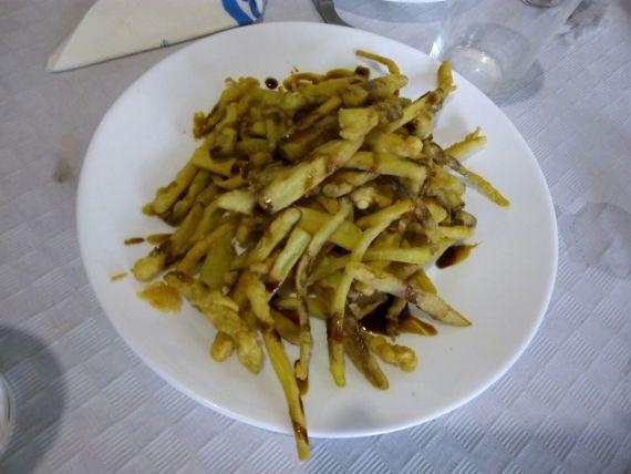Berenjenas con miel de Taberna Plateros.