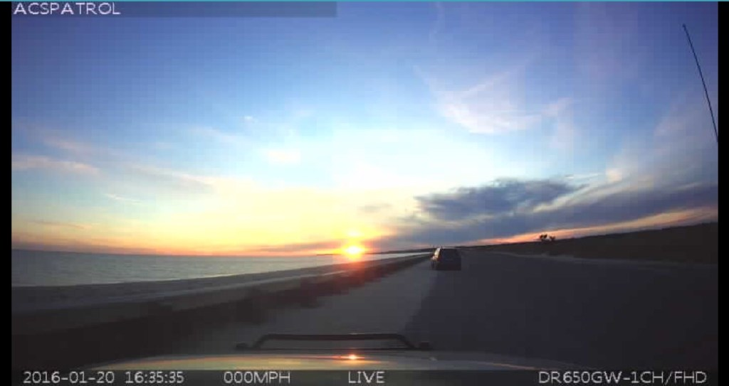 Dashcam sunset