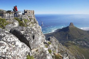 Table Mountain offers a fascinating perspective on the city below, including Lion's Head and Clifton, as seen here