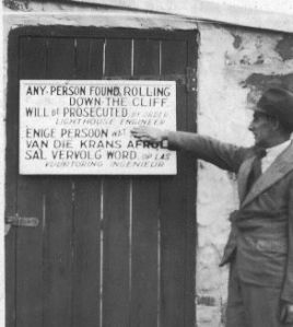 A sign on the lighthouse door, taken around 1910.
