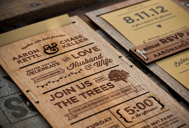 Cape Town Wedding Invites Wooden
