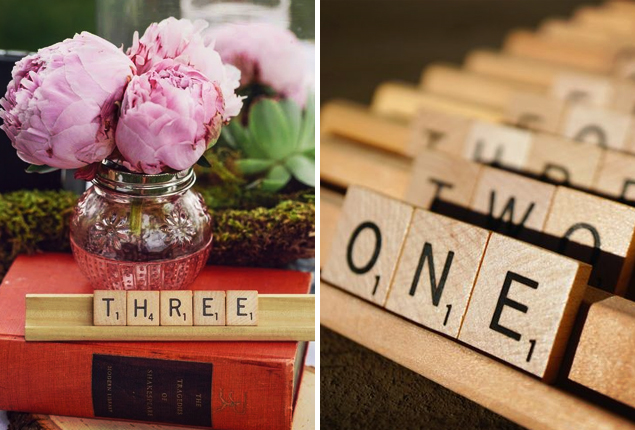 Cape Town Wedding - Scrabble Table Number