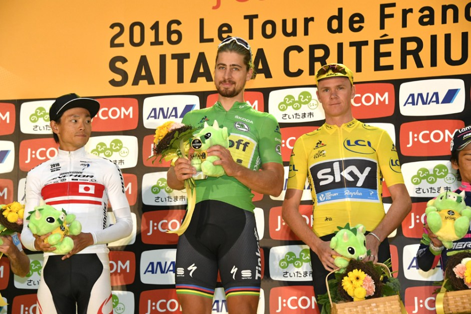 Le Tour de France Saitama Criterium 2016 - 29/10/2016 - Saitama - Japon - Main Race - Podium - Sho Hatsuyama, Bridgestone-Anchor, 2ème place, Peter Sagan, Tinfoff, Vainqueur, Christopher Froome, Team Sky, 3ème place