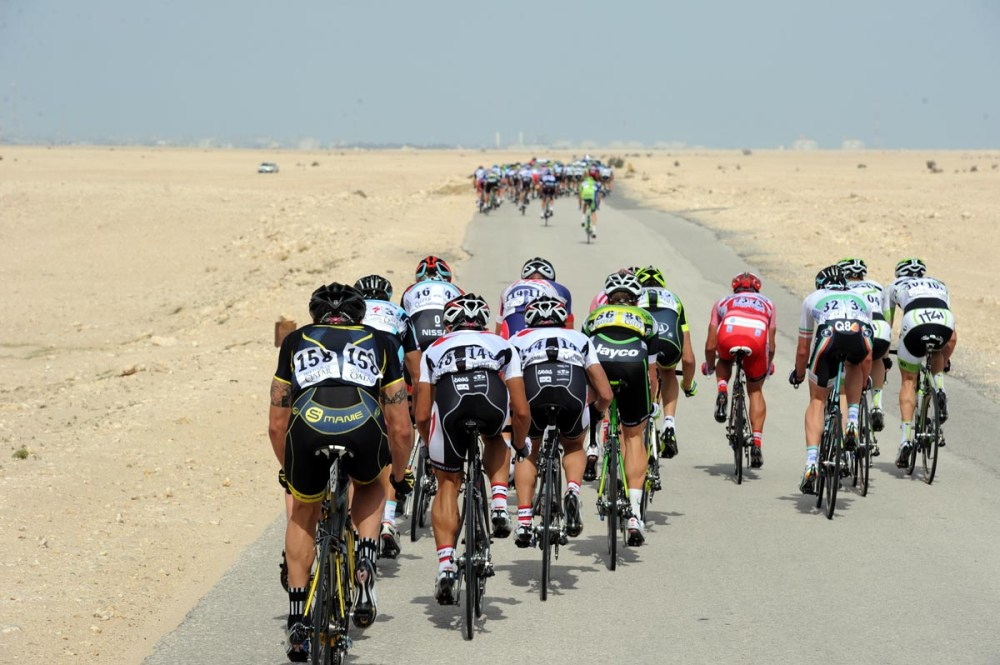 Wind has split the peloton on stage four of the 2012 Tour of Qatar
