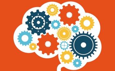 think design over orange background vector illustration