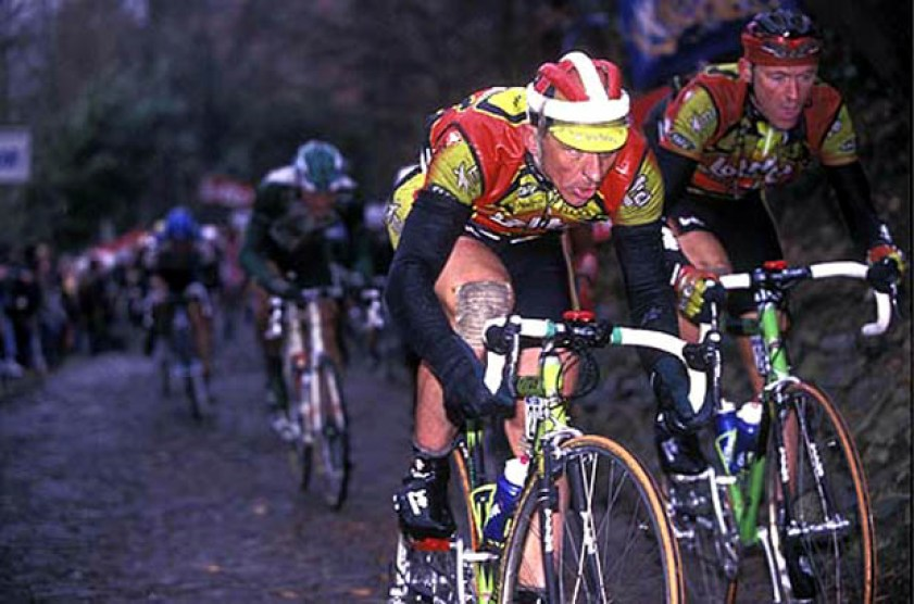 Tchmil was clearly in form for the 1999 season - here he climbs the Muur van Geraardsbergen with teamate Chris Peers in the Omloop Het Volk, and the peloton no-where to be seen....