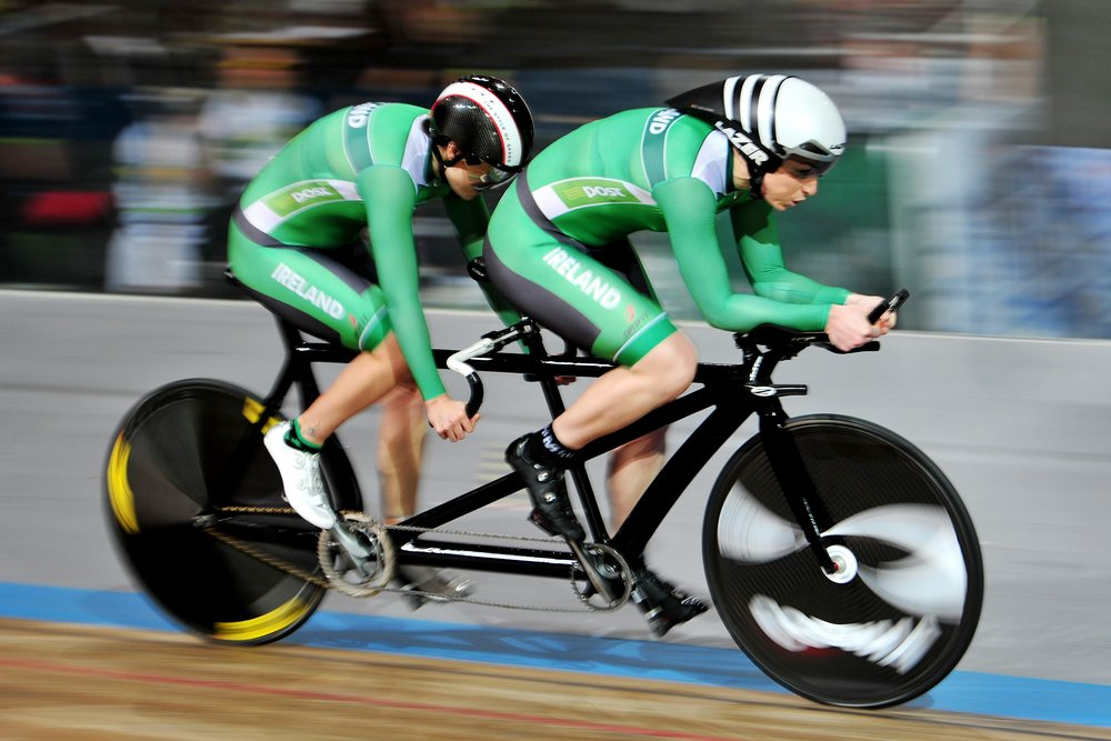 26 March 2015; Ireland's Katie-George Dunlevy and pilot Eve McCrystal in action during their Women's B 1km Time Trial Final, where they finished in 8th place with a time of 1:13.579. 2015 UCI Para-cycling Track World Championships. Omnisport Apeldoorn, De Voorwaarts 55, 7321 MA Apeldoorn, Netherlands. Picture credit: Jean Baptiste Benavent / SPORTSFILE *** NO REPRODUCTION FEE ***
