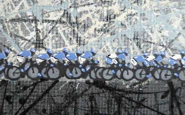Cycling art peloton cyclists abstract painting