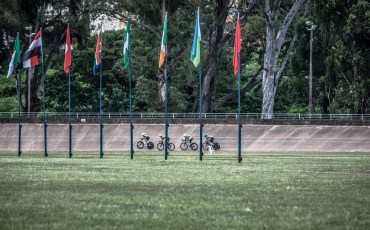 during the 2015 African Continental Championships at the Sax Young Cycling track in Alexandra Park