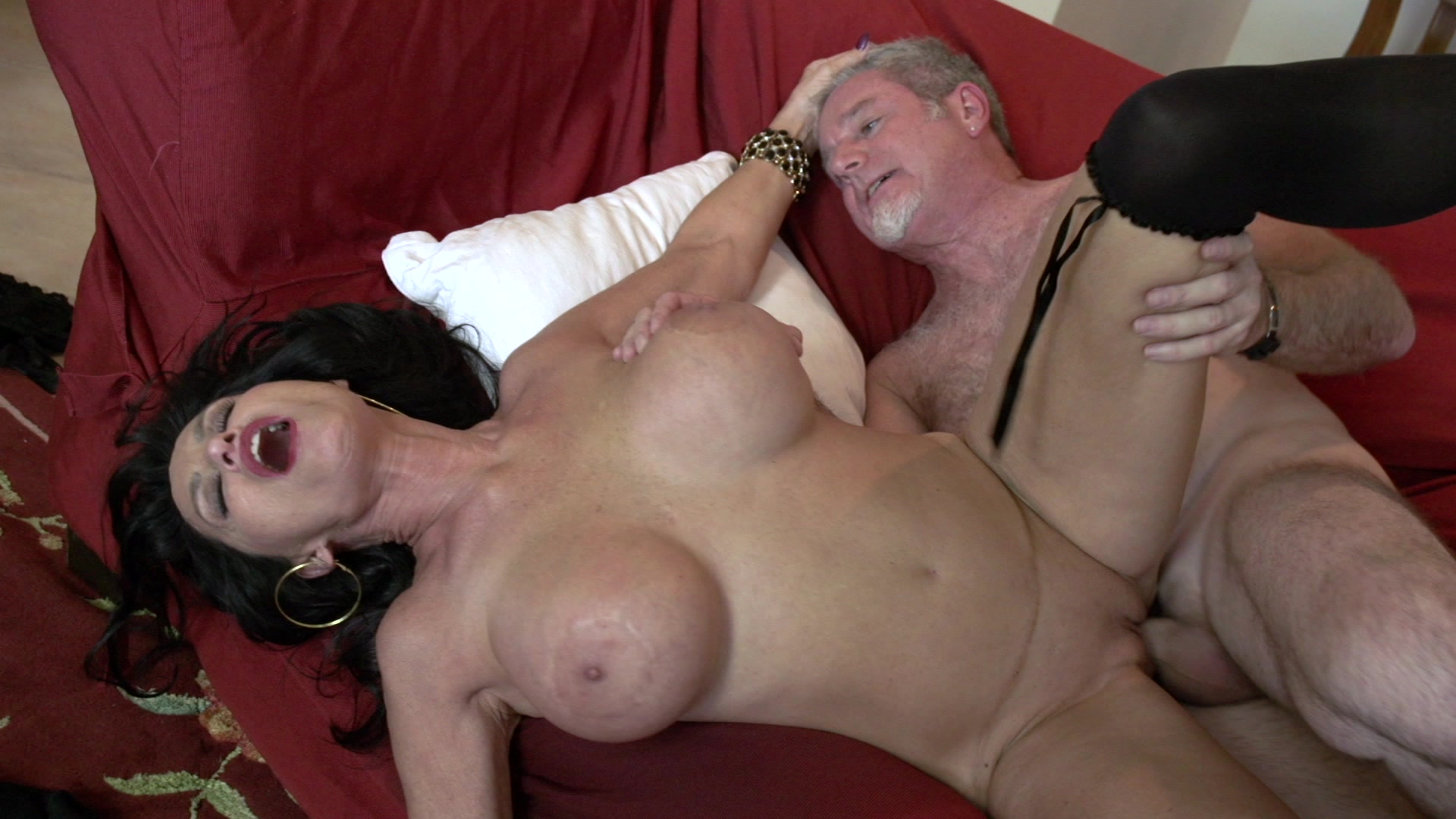 Busty Brunette MILF Gets Nailed on the Red Couch Starring: Rita Daniels