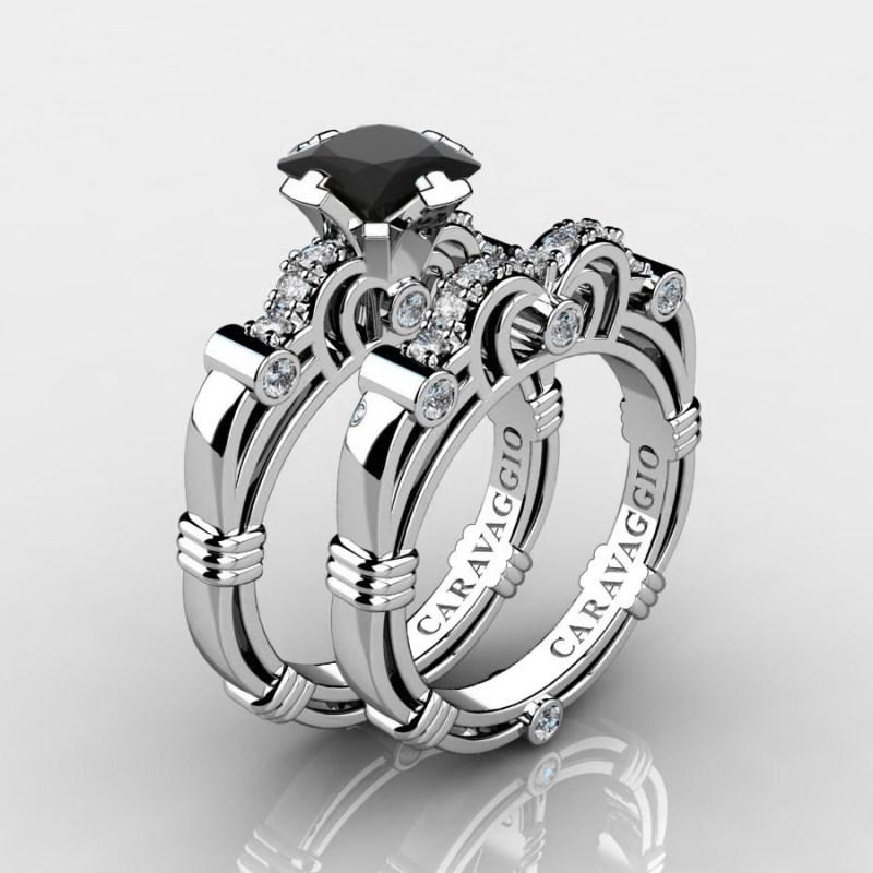 Lovely Art Masters Caravagio 14k G 1 5 Carat Princess Black Diamond Women Black Diamond Engagement Rings Diamond Engagement Ring Wedding Band Set R623ps 14kwgdbd P Black Diamond Engagement Rings
