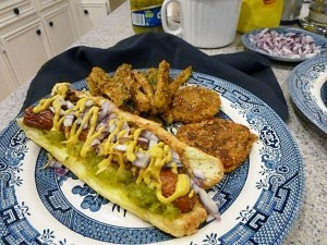 Low Carb Coney Island Dogs with Oven-baked Zucchini Fries and Green Tomatoes