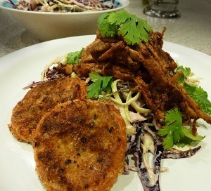 Un-barbequed Pulled Pork Stack with Oven-fried Green Tomatoes and Texas Chile Lime Coleslaw