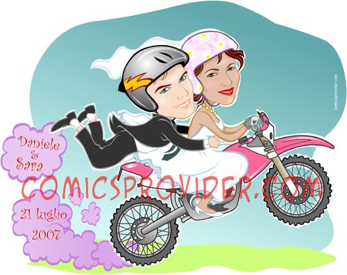 Caricatura sposi su una moto per le partecipazioni di matrimonio.