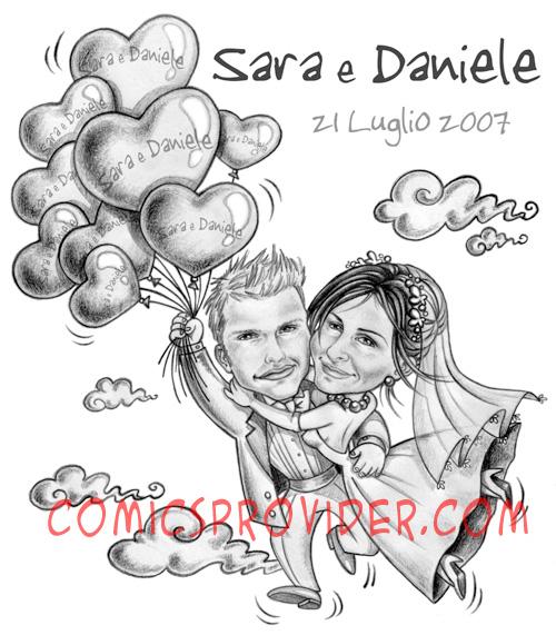Caricatura/ritratto realizzato partendo dalle foto degli sposi con la tecnica mezzatinta.