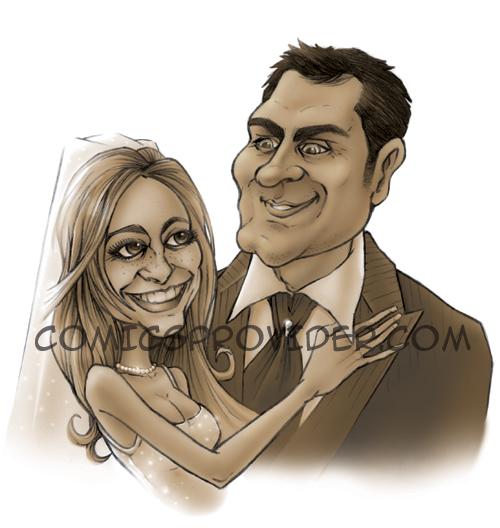 Caricatura classica degli sposi per gli inviti di nozze