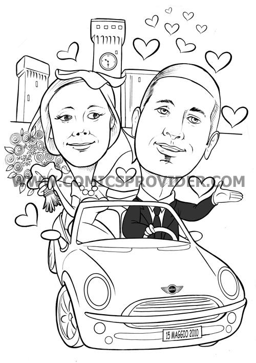 caricatura sposi sulla mini