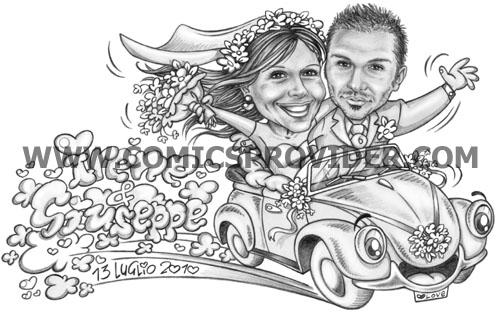 Sposi nel maggiolone wolswagen