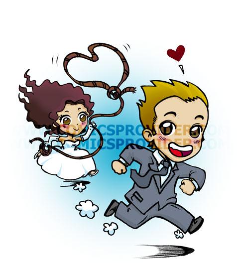 Partecipazione ready sposi in stile manga