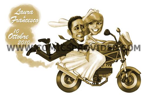 Caricatura sposi che sfrecciano su moto Ducati