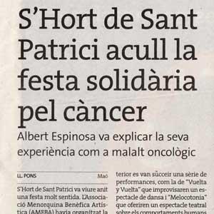 «S'hort de Sant Patrici acull la festa solidària pel càncer»