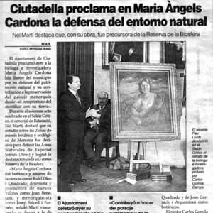 «Ciutadella proclama en Maria Àngels Cardona la defensa del entorno natural»