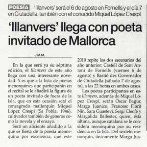 «Illanvers llega con poeta invitado de Mallorca»