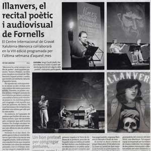 «Illanvers, el recital poètic i audiovisual de Fornells»