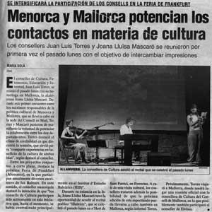 «Menorca y Mallorca potencian los contactos en materia de cultura»