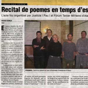 «Recital de poemes en temps d'esperança»