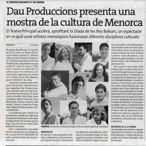 «Dau Produccions presenta una mostra de la cultura de Menorca»