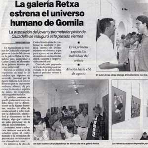 «La galería Retxa estrena el universo humano de Gomila»
