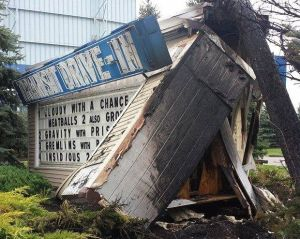 Wrecked marquee of the Transit Drive-In