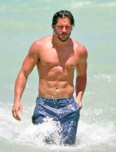 True Blood actor Joe Manganiello hitting the beach.