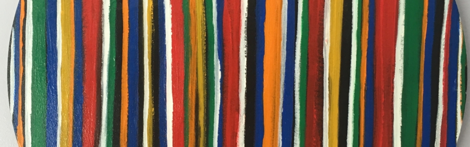 Ribbon of Colored Stripes of acrylic painted on round canvas