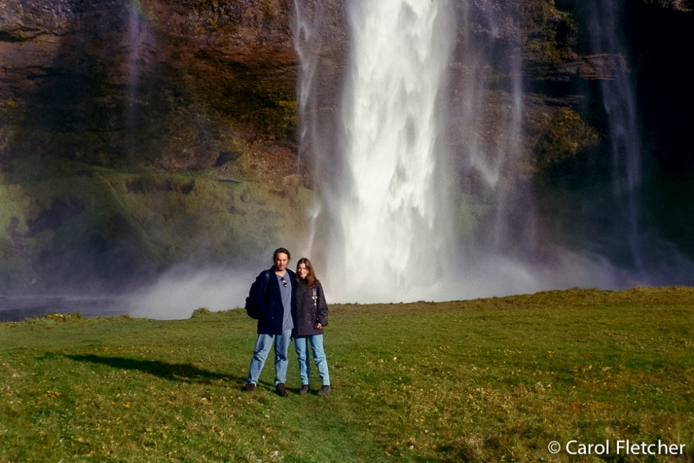 Carol & Bryan at the Seljalandfoss waterfall