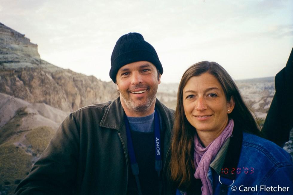 Bryan and Carol in the hot air balloon over Cappadocia