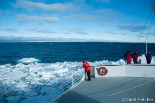 Breaking thru sea ice
