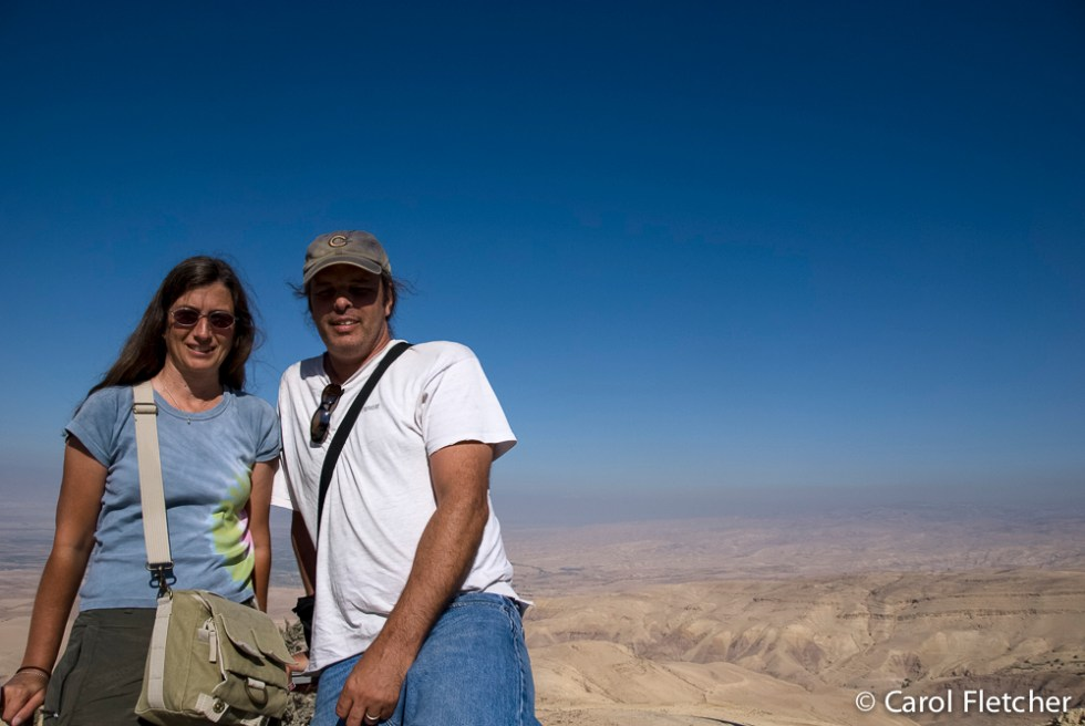 "Bryan and Carol at Mt Nebo, overlooking ""the Promised Land"""