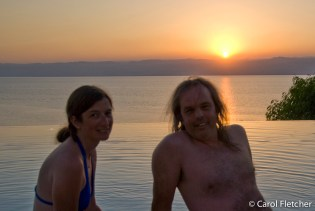 Carol and Bryan at sunset over the Dead Sea