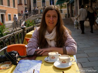 Carol and cappuccino in Venice