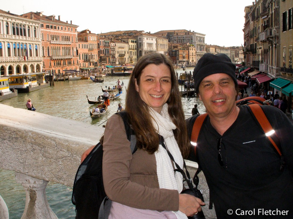 Carol and Bryan on the Rialto Bridge